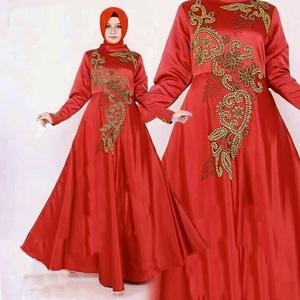 Model Baju Gamis Long Dress Muslim Pesta Bahan Satin