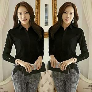 Model Baju Hem Kemeja Kerja Wanita Lengan Panjang Terbaru Warna Hitam