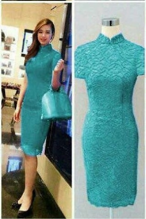 Model Baju Mini Dress Pendek Span Fashion Wanita Bahan Brukat Cantik