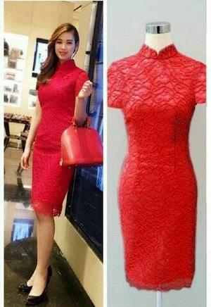 Model Baju Mini Dress Pendek Span Fashion Wanita Bahan Brukat Cantik Terbaru