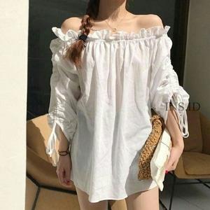 Model Baju Sabrina Warna Putih dan Hitam Modern Modis Terbaru Murah