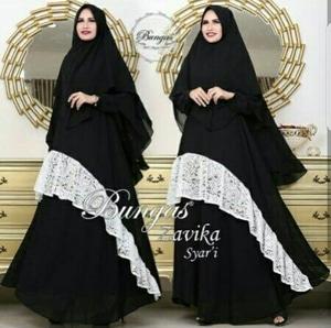 Model Baju Setelan Hijab Gamis Syari Modern Muslimah Kombinasi Brukat Terbaru