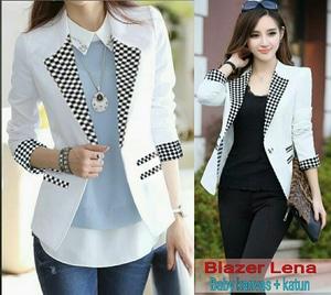 Model Blazer Wanita Modern Motif Monochrome Cantik Keren Ala Korea