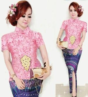 Setelan Baju Kebaya Brukat dan Rok Batik Cantik Modis Modern Model Terbaru