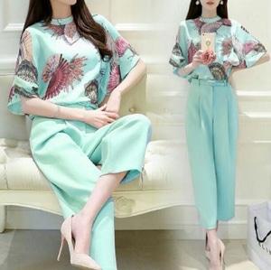 Setelan Baju dan Celana Kulot Wanita Modis Motif Kipas Modern Model Terbaru