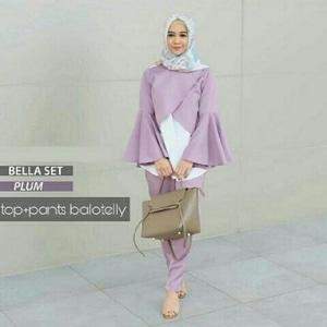 Setelan Baju dan Celana Muslimah Wanita Desain Cantik Modern Model Terbaru