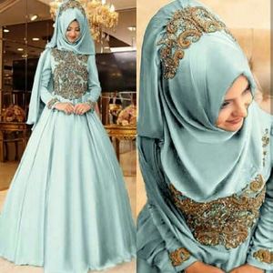 Setelan Hijab Baju Gamis Long Dress Muslim Pesta Bordir Modern Model Terbaru