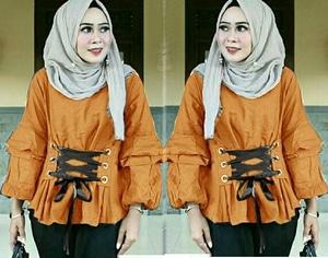 Baju Atasan Wanita Blouse Hijab Lengan Panjang Aksesoris Tali Ikat Model Terbaru