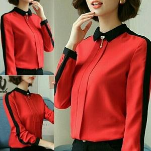 Baju Atasan Wanita Blouse Hijab Lengan Panjang Model Terbaru Warna Merah Modis