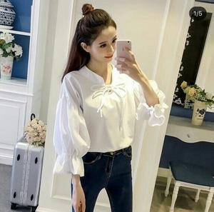 Baju Atasan Wanita Blouse Lengan Panjang Warna Putih Polos Model Terbaru