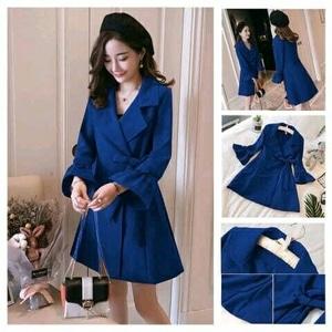 Baju Blazer Coat Wanita Aplikasi Tali Ikat Cantik Model Terbaru ala Korea Modern