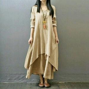 Baju Dress Panjang Long Dress Gamis Susun Polos Modern