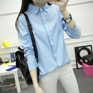Baju Hem Cewek Kemeja Kerja Wanita Polos Lengan Panjang Modern Model Terbaru