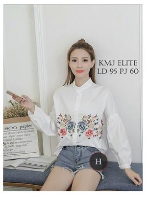 Baju Hem Cewek Kemeja Wanita Warna Putih Lengan Panjang Bordir Model Terbaru