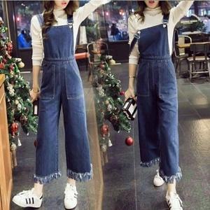 Baju Jumpsuit Celana Kodok Kulot Wanita Panjang Bahan Jeans Wash Model Terbaru