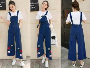Baju Kodok Jumpsuit Panjang Wanita Bordir Bahan Jeans Wash Model Terbaru