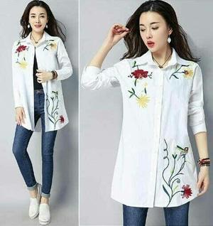 Baju Long Hem Cewek Kemeja Wanita Lengan Panjang Warna Putih Model Terbaru