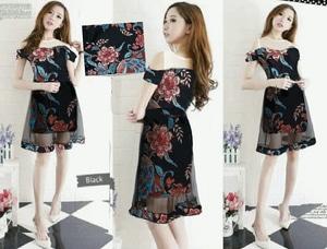 Baju Mini Dress Pendek Fashion Wanita Motif Batik Model Sabrina Cantik Terbaru