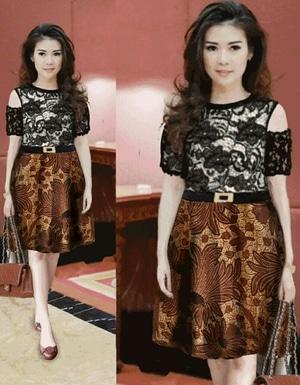 Baju Mini Dress Pendek Wanita Bahan Brukat Kombinasi Motif Batik Model Terbaru