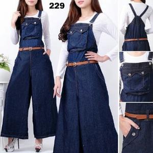 Baju Setelan Jumpsuit Kulot Panjang Wanita Bahan Jeans Wash Model Terbaru
