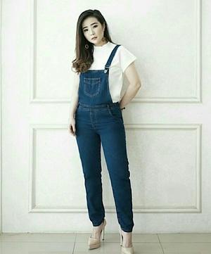 Celana Kodok Overall Baju Jumpsuit Panjang Wanita Bahan Denim Model Terbaru