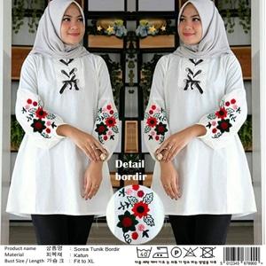 Model Baju Atasan Wanita Blouse Hijab Tunik Putih Lengan Panjang Terbaru