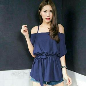 Model Baju Atasan Wanita Blouse Sabrina Tali Lengan Pendek Modis Cantik Terbaru