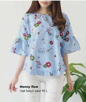 Model Baju Blouse Atasan Wanita Motif Salur Belang Bunga Cantik Modis Terbaru