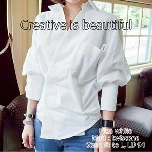 Model Baju Hem Cewek Kemeja Kerja Wanita Terbaru Lengan Panjang Warna Putih