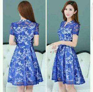 Model Baju Mini Dress Brukat Pendek Wanita Cantik Terbaru Desain Pesta ala Korea