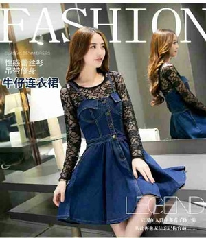 Model Baju Mini Dress Pendek Bahan Jeans Wash Kombinasi Brukat Cantik Terbaru