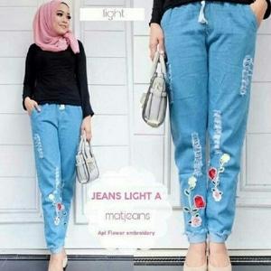 Model Celana Jeans Wash Panjang Wanita Terbaru Aplikasi Gambar Bunga Modern