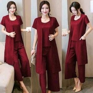 Setelan Baju Celana Kulot dan Long Cardigan Wanita Modern Model Terbaru