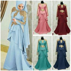 Setelan Baju Gamis Long Dress Muslim Pesta Bordir Modern Cantik Model Terbaru