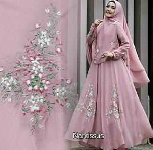 Setelan Baju Gamis Syari Muslimah Bordir Cantik Modern Bahan Jersey Model Terbaru
