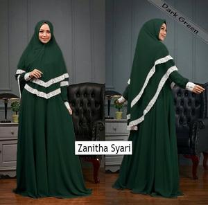 Setelan Baju Gamis Syari Muslimah Wanita Modern Kombinasi