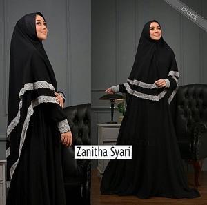 Setelan Baju Gamis Syari Muslimah Wanita Modern Kombinasi Renda