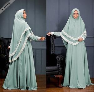 Setelan Baju Gamis Syari Muslimah Wanita Modern Kombinasi Renda Model Terbaru