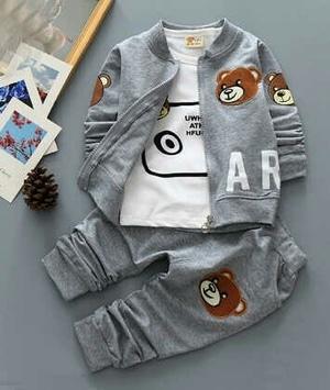 Setelan Baju Jaket dan Celana Panjang Anak Laki-laki Gambar Beruang Model Terbaru