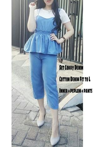 Setelan Baju Kaos Tangtop Peplum dan Celana Denim Wanita Modis Model Terbaru