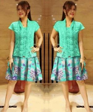 Setelan Baju Kebaya Kutubaru Lengan Pendek dan Rok Batik Pendek Mini Model Terbaru