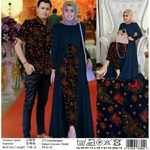 Setelan Baju Long Tunik dan Kemeja Couple Muslim Motif Batik Modern Model Terbaru