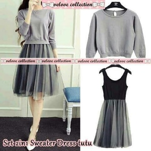 Setelan Baju Mini Dress Pendek Tutu dan Sweater Wanita Modern Model Terbaru
