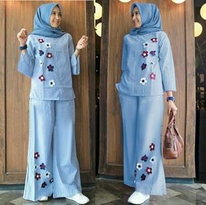 Setelan Baju dan Celana Kulot Wanita Panjang Muslimah Modis Model Terbaru