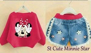 Setelan Baju dan Celana Pendek Denim Anak Perempuan Gambar Minnie Mouse