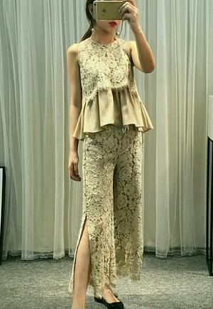 Setelan Baju dan Celana Wanita Modis Bahan Brukat Cantik ala Korea Model Terbaru