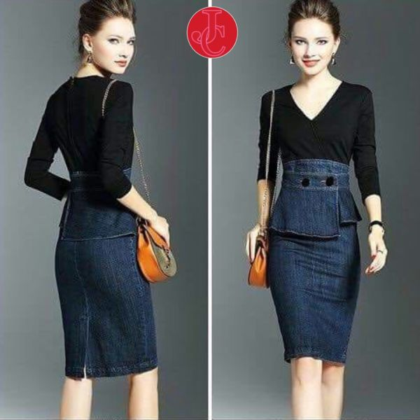Baju Mini Dress Pendek Fashion Wanita Kombinasi Bahan Jeans Model Terbaru