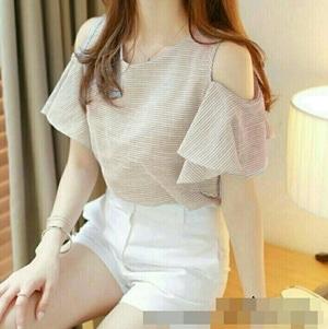 Baju Atasan Wanita Blouse Lengan Pendek Bahu Bolong Modern Model Terbaru