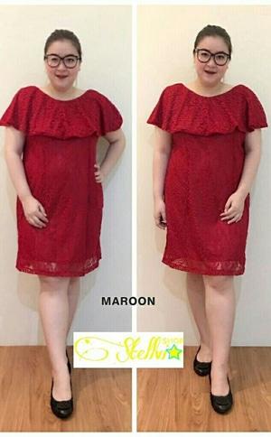 Baju Dress Pendek Pesta Wanita Bahan Brukat Ukuran Jumbo (Big Size) Model Terbaru