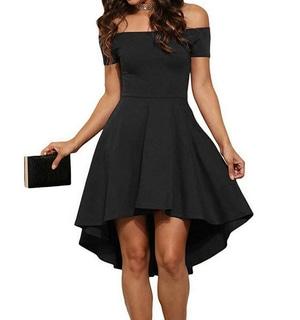 Baju Dress Pendek Pesta Wanita Model Sabrina Cantik Modern Terbaru dan Murah Warna Hitam